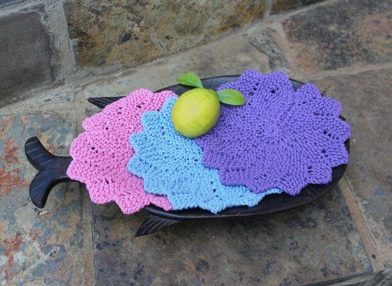 Hand knitted wash cloths  Cotton dish cloth  by KennaInAfrica