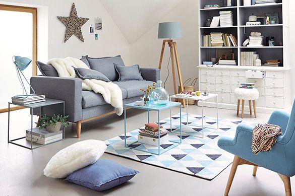 salon maison du monde scandinavesixties gris bleu ciel lavande et blanc salon pinterest salons - Salon Bleu Et Gris