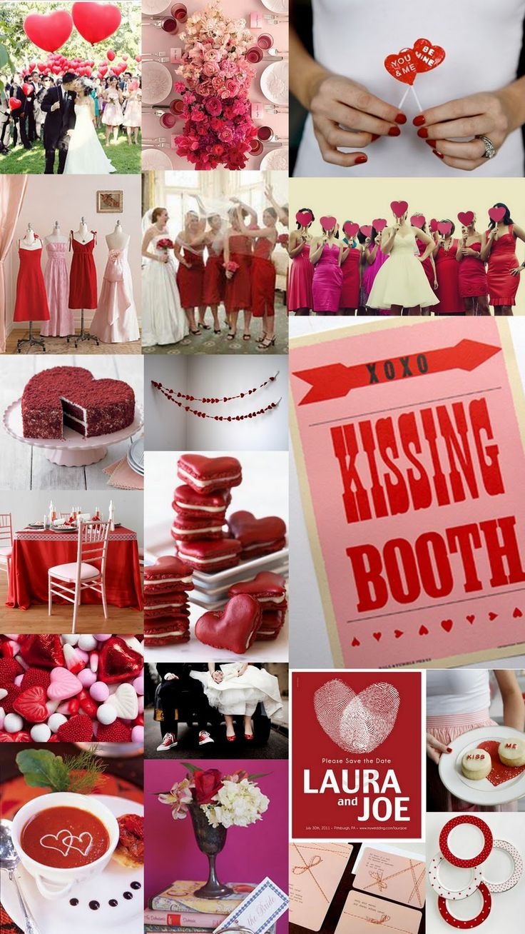 Love this red and pink wedding theme. The kissing booth is very cute.