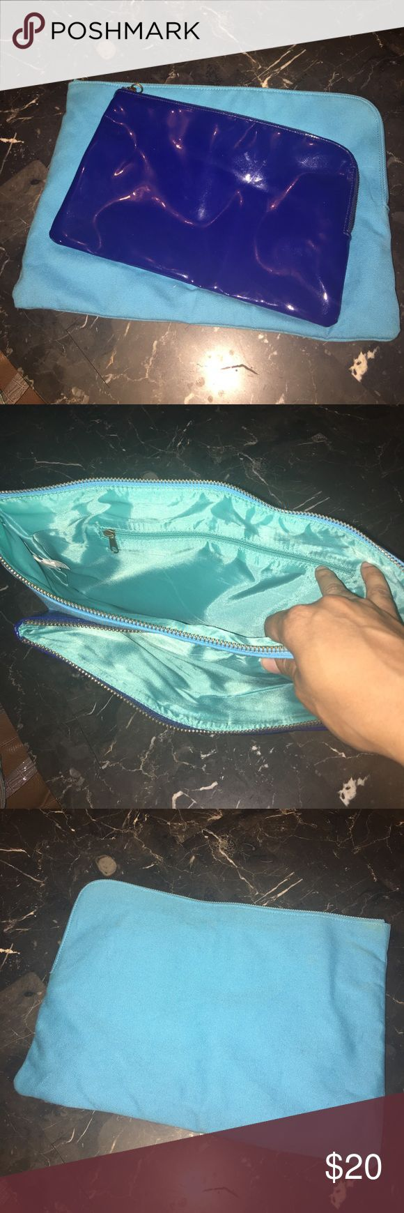 Connected clutch bags!!!! Turquoise and royal blue attached clutch bags ... worn once!! Small minor stains ....hardly visible!!! Feel free to make an offer!!! Bags Clutches & Wristlets