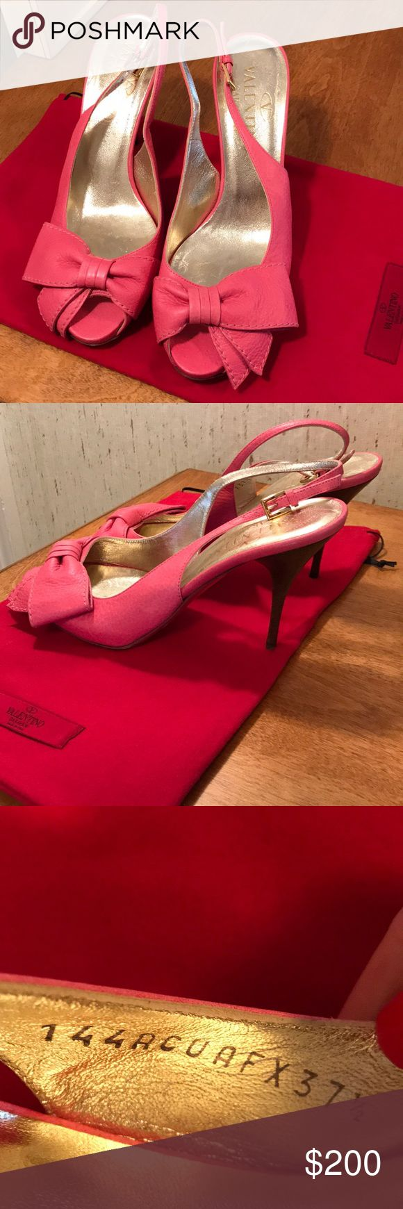 "NWB authentic Valentino sling back peep pumps. New authentic Valentino peep toe sling back pumps with bow detail. Color coral pink. Size 37.5. Heel height 4"". No bar but comes with shoe bag. Please do not make low offers. My price is firm. DISCLAIMER: You buy it, you keep it! If you are a habitual returner, do not buy from my closet. I am not responsible for you changing your mind about your purchase if you don't like what you received, or the size or color isn't right. If you rely on…"