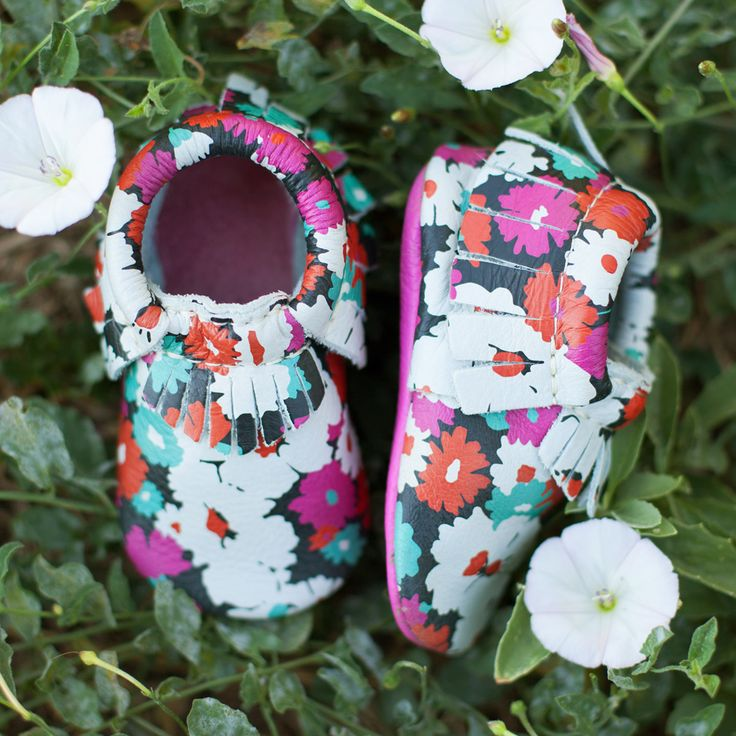 Summer Bloom, from the Summer Harvest Collection | Freshly Picked Moccasins, Genuine Leather, Suede Baby Shoes, Floral Patterned Toddler Style