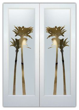 Interior Glass Doors - Frosted Semi Private PALMS GLEAMING eclectic interior doors