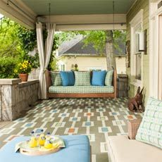color carpet design on a porch floor