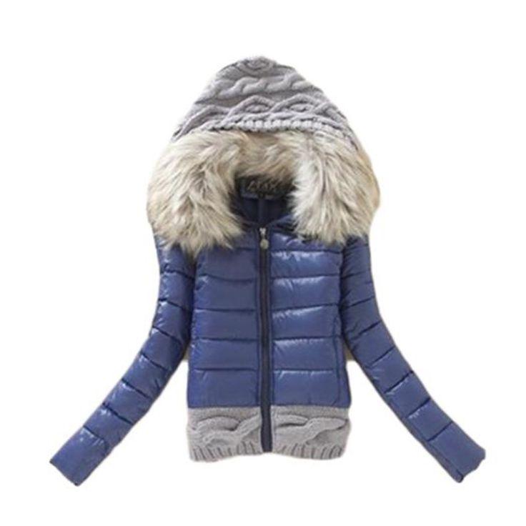 2016 Musim Dingin Baru Penebalan Dengan Desain Singkat hood Gumpalan Jaket Besar Kerah Bulu Jaket Kapas-empuk Bulu kerah LG222