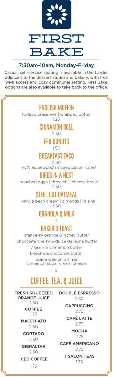 Breakfast Menu - First Bake | Farmers Fishers Bakers Restaurant