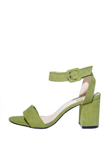 Solid Open Toe Ankle Strap Rough Heeled Sandals