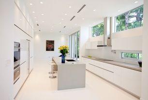 Modern Kitchen with LG Hausys HI-MACS Solid Surface Countertop Sample in Hazelnut Shell, Limestone counters, Kitchen island