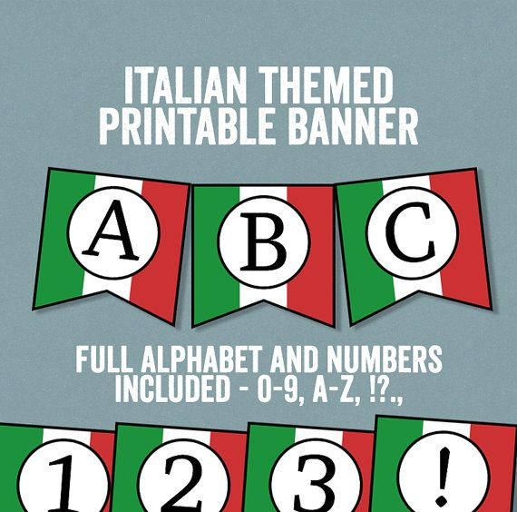 Italian Flag Bunting Printable Any phrase DIY by YouGrewPrintables