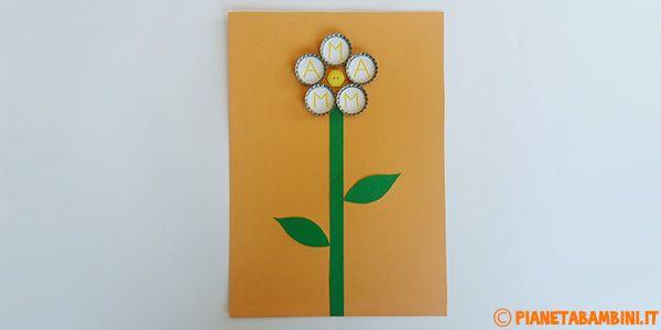 Lavoretti per la Festa della Mamma: Fiore con Tappi e Bottone