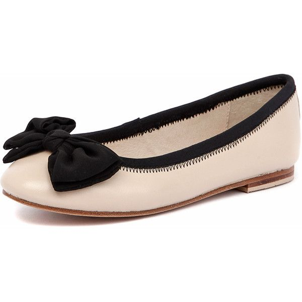 Human Premium Allure Nude/Black ($64) ❤ liked on Polyvore featuring shoes, flats, black bow flats, bow flats, black skimmer, round toe ballet flats and leather ballet flats