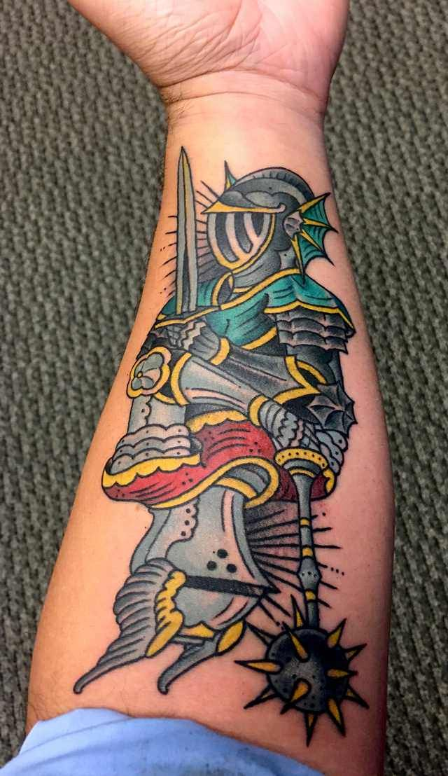 Traditional Knight Tattoo : traditional, knight, tattoo, Green, Knights, Imgur, Knight, Tattoo,, Traditional, Tattoo, Knight,, Tattoos