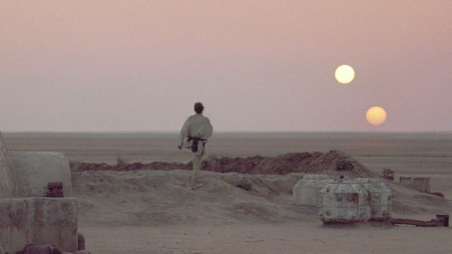 5. This is probably a very easily recognizable picture from the Star Wars movies. This is actually a really good depiction of what a binary sunset would look like from the surface of an orbiting planet.