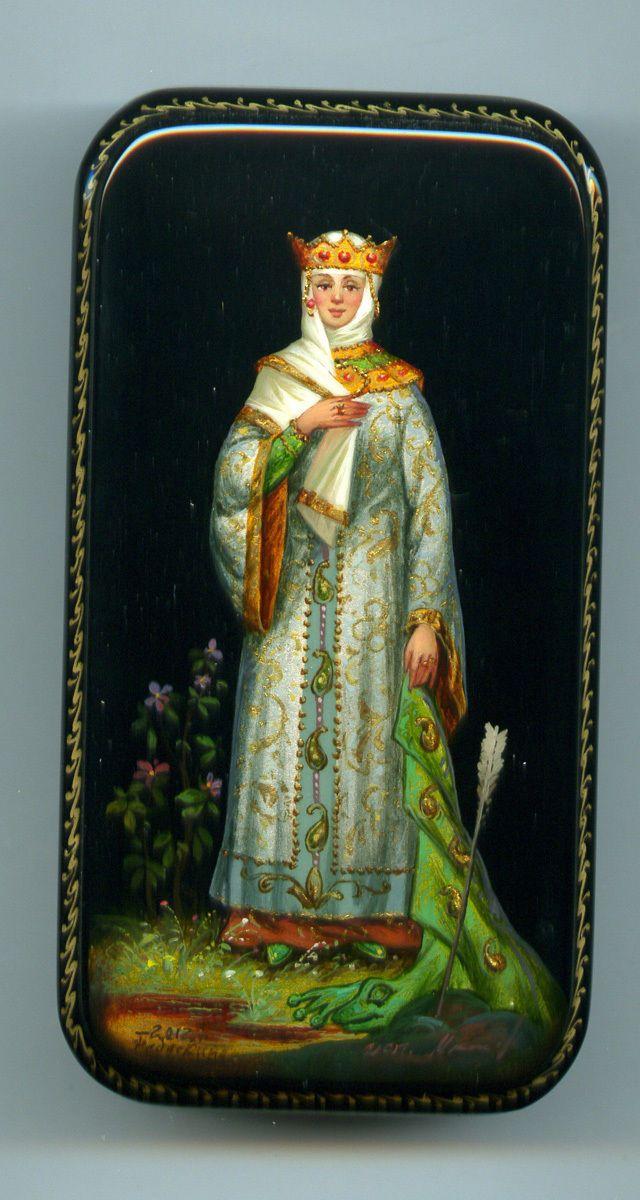 "Russian Lacquer Box Style Fedoskino ""Vasilisa The Beautiful"" Hand Painted | eBay"