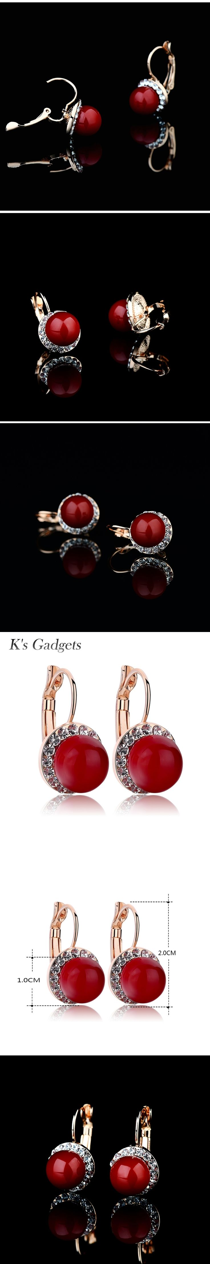 K'S Gadgets Rose Gold Color Artificial Coral Earrings  Buckle Rhinestone Earring Natural Stone Stud Women Crystal Coral Earrings