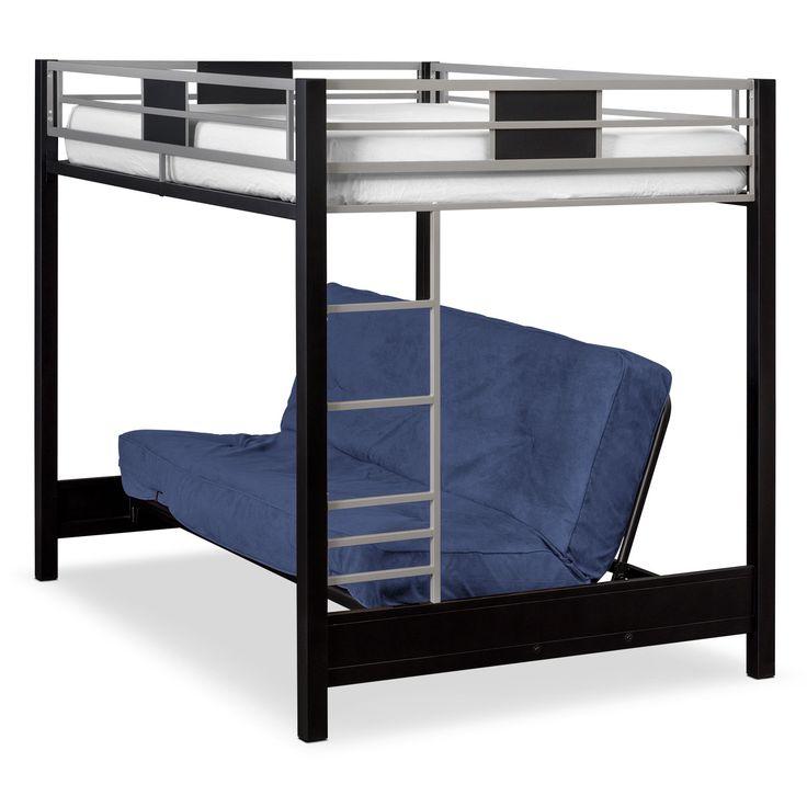 Bedroom Furniture - Samba Full Futon Bunk Bed with Blue Futon Mattress