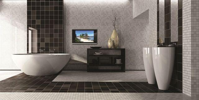 Spiegel TV voor in de badkamer. Moet zichtbaar zijn vanuit het bad, en veranderd in een spiegel wanneer niet gebruikt
