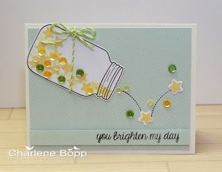 Sweet and sparkly! Lawn Fawn - Summertime Charm stamps and dies, Flying by, Daphne's Closet paper, Lime Lawn Trimmings _ Charlene's Studio Ink: You Brighten My Day