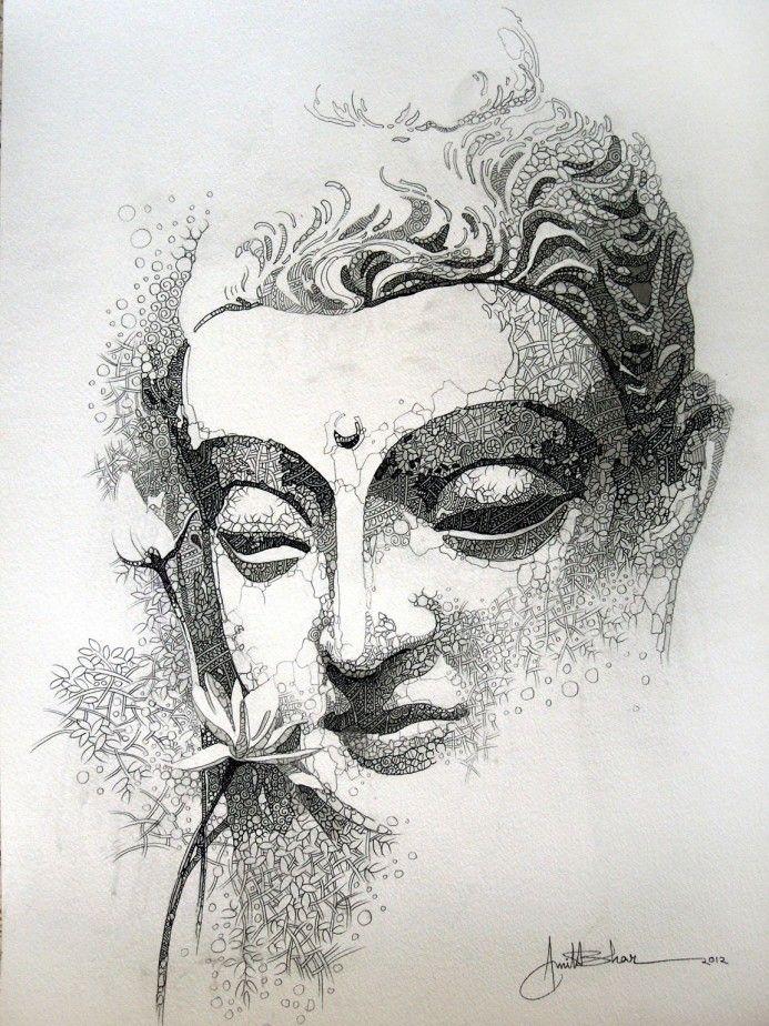buddha skatch 15''x22'' acrylic ,pen & pencile on paper Rs-- 60,000 INR