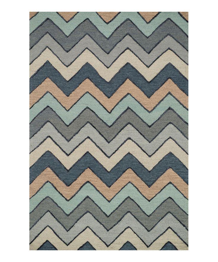 Gray Chevron Panache Wool-Blend Rug