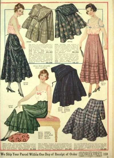 1918- Despite the slimming dress silhouette women still wore a petticoat- and a very colorful ones at that! at least now it was just one A line petticoat and not multiple layers of them like before the war.