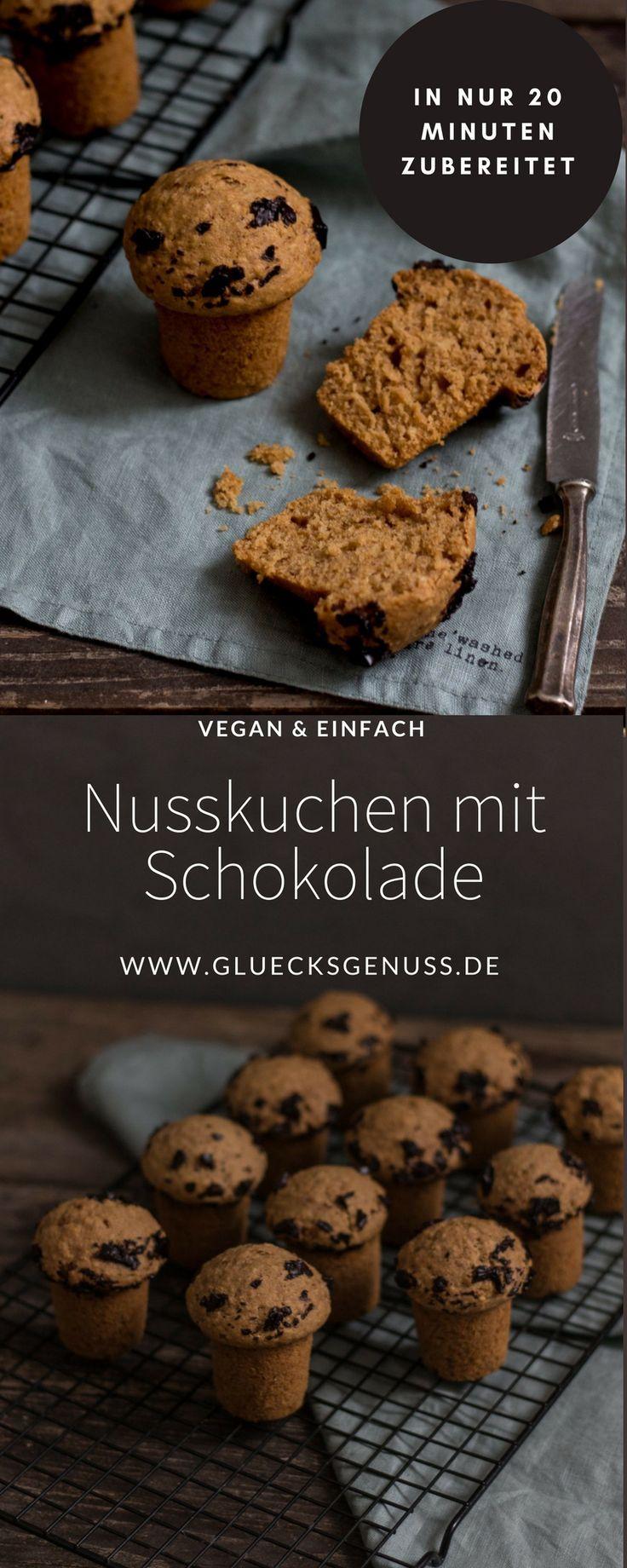 {Rezept} Kleine Nusskuchen mit Schokolade / vegan - Glücksgenuss