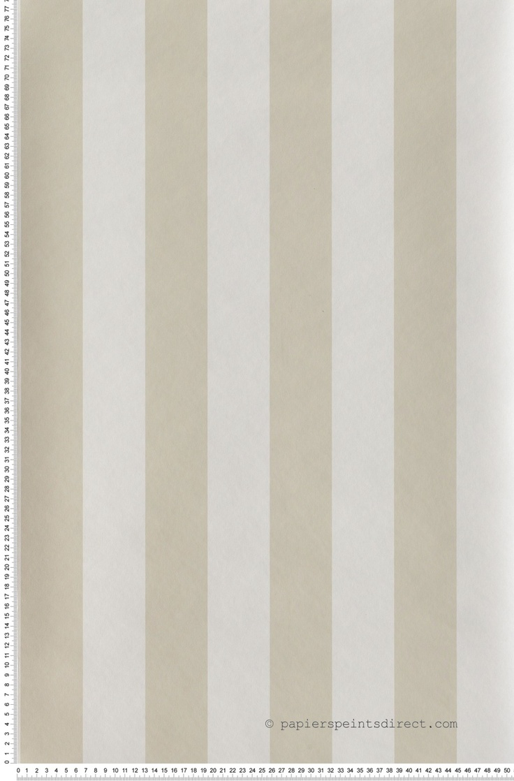 Rayures Larges Bicolores Beige clair et Blanc - papier peint Lutèce