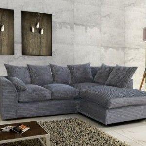 Porto Jumbo Cord Corner Sofa Settee Full Chenille Fabric In Grey