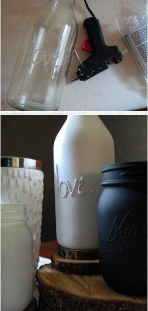 Take a hot glue gun and print your design on a bottle, and then spray paint