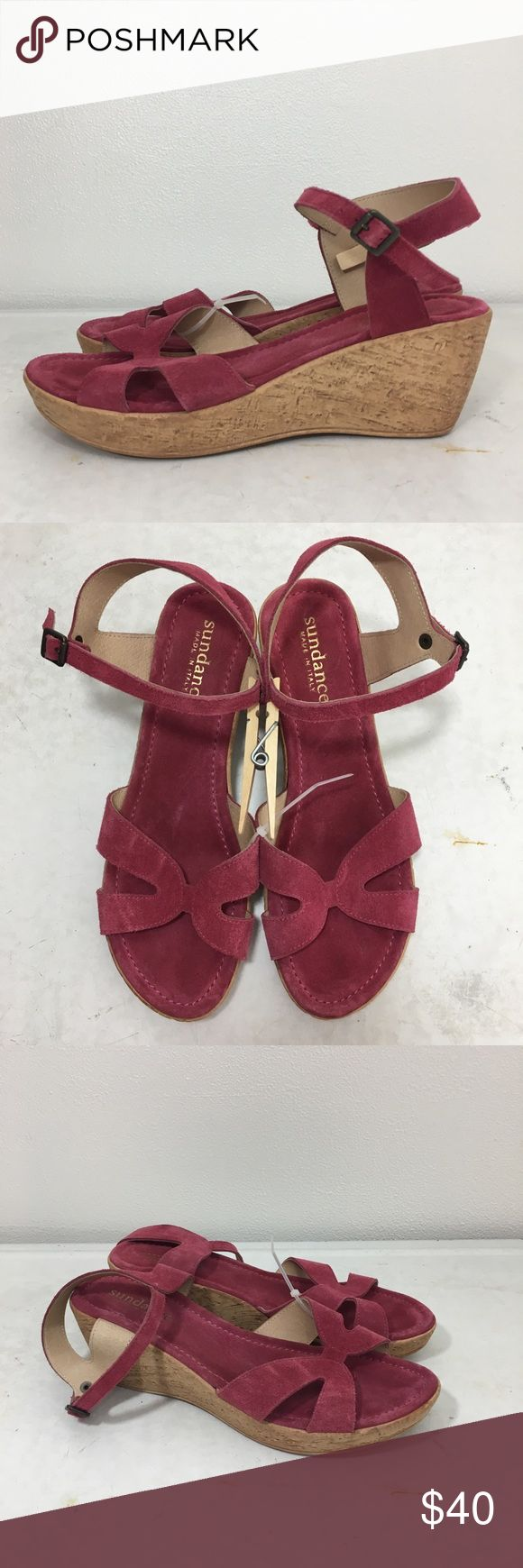 🆕 Listing!  Sundance Wedge Sandals Raspberry genuine suede upper in a criss cross vamp.  Sling backs with antiqued gunmetal adjustable buckle.  Store model.  Very sweet and feminine.  Man made cork-look platform wedge sole.  In excellent condition.  Size not labeled.  Fit like an 8.5. Sundance Shoes Sandals