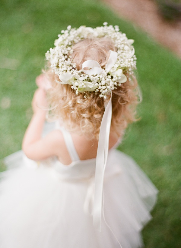 a tutu clad flower girl with the prettiest baby's breath floral crown  Photography by ktmerry.com, Floral Design by parrishdesignslondon.com