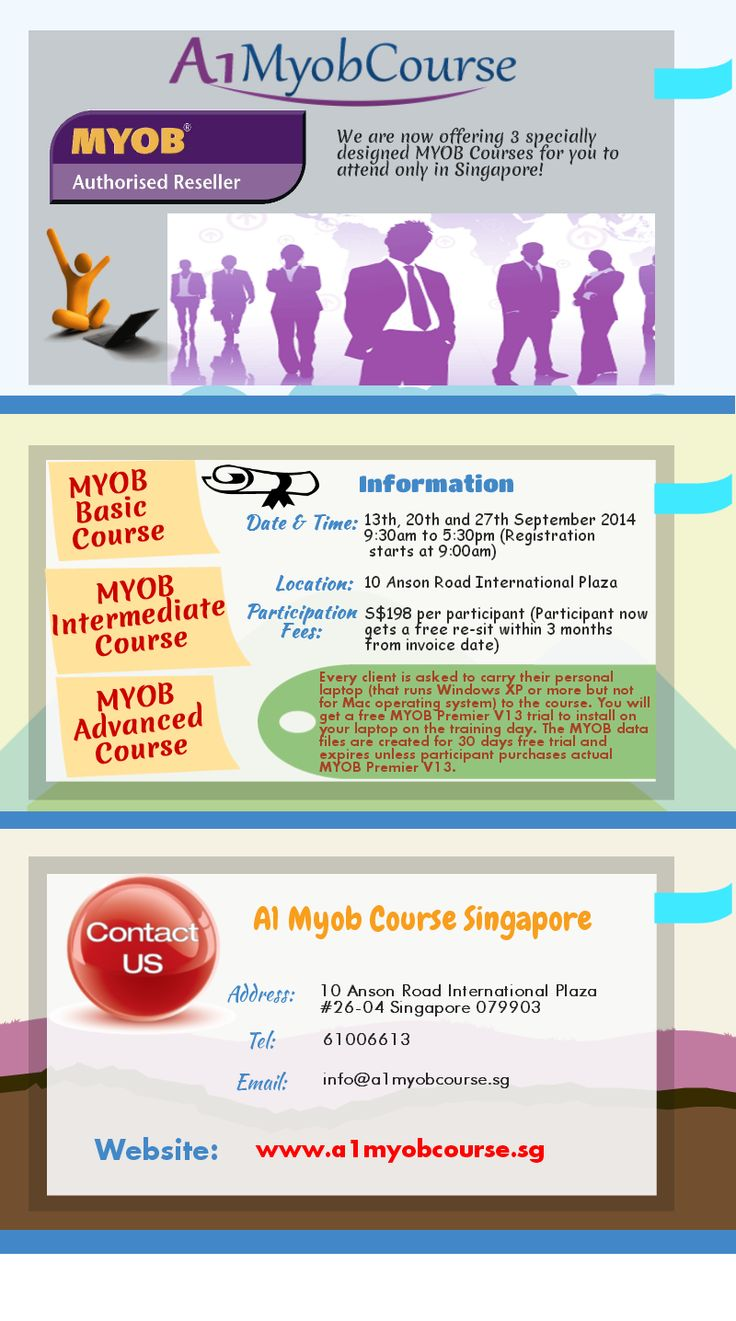 We are now offering 3 specially designed MYOB Courses