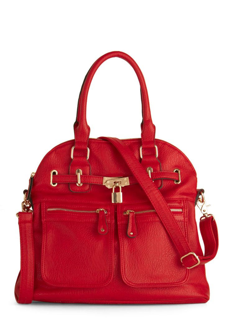 Girl With Curves Bag in Red - Red, Buckles, Exposed zipper, Pockets, Luxe, Top Rated