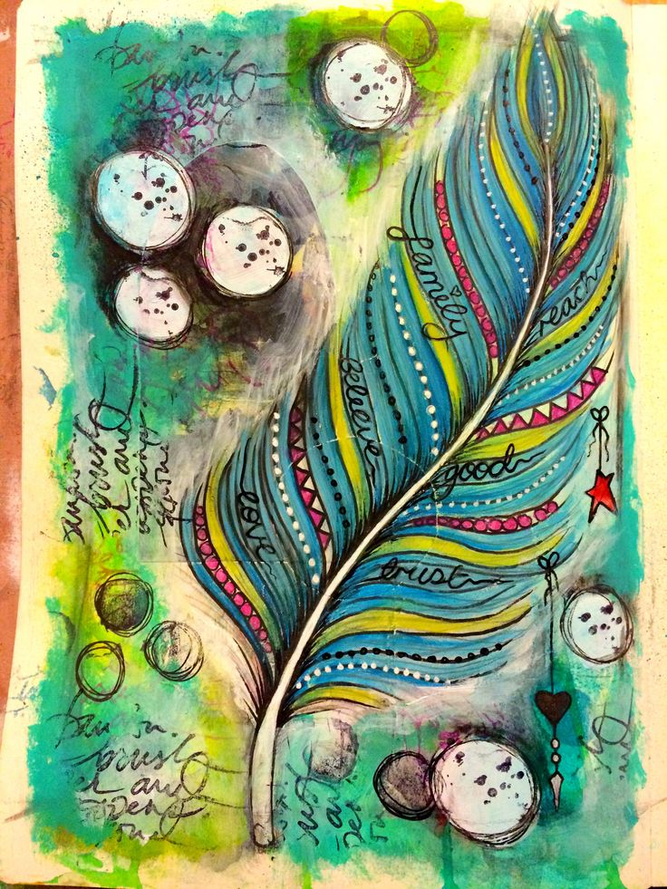 Lifebook week 4 - Tamara's feather tutorial. Art journal page