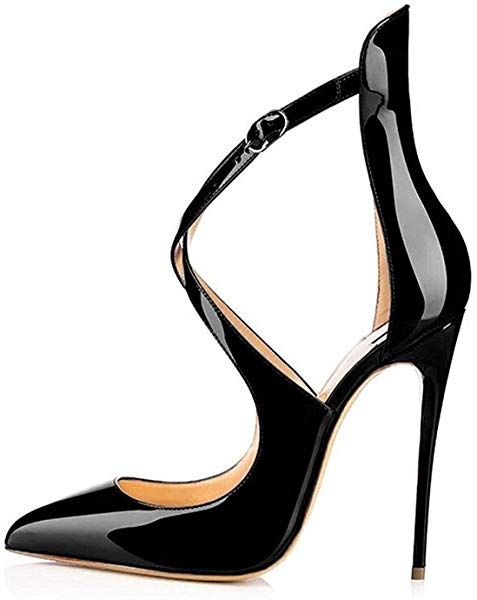 9b8bae174d5 Amazon.com   Sammitop Women's Pointed Toe Pumps Ankle Strap Stiletto ...