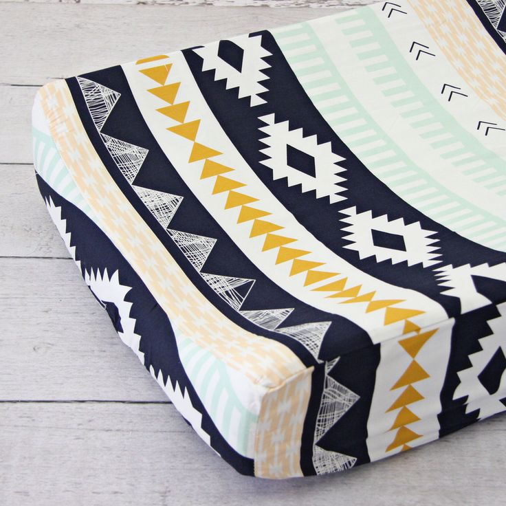 Aztec Gold and Mint Changing Pad Cover. @cadenlane #mintnursery #aztecnursery #changingpadcover