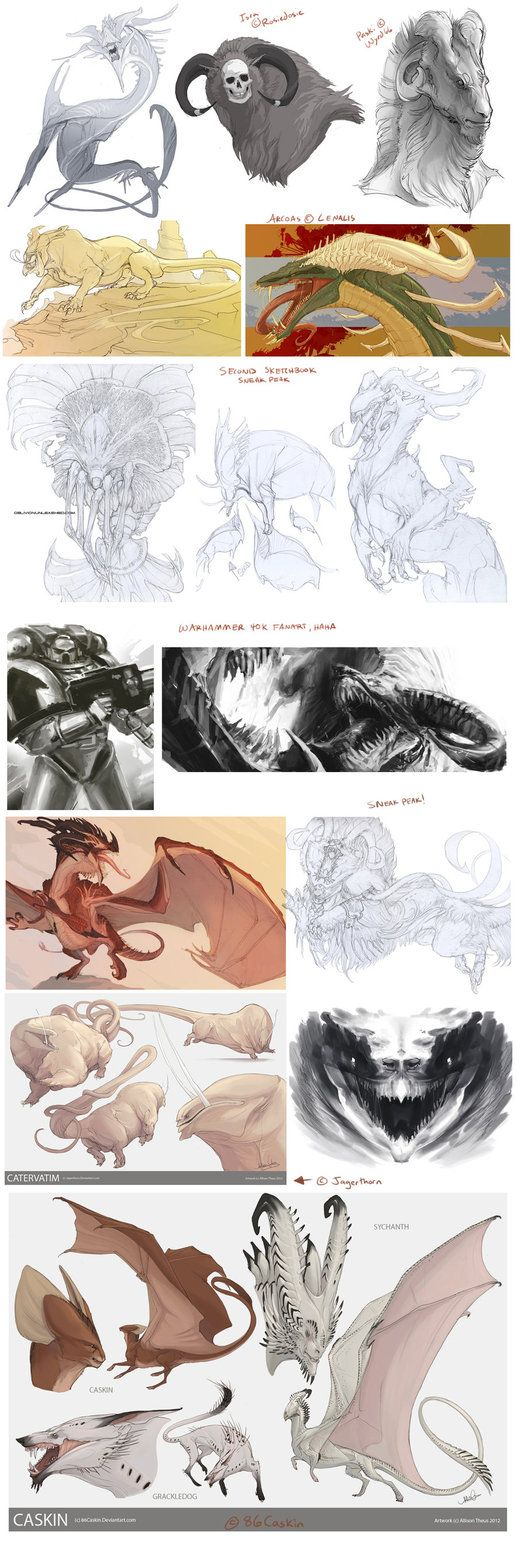 Some creatures to go along with the character sketchdump. A couple of gifts and some second sketchbook sneak peaks! Isra (c) Rosiedosie Paski are (c) Arcoas (c) Catervatim (c) Caskin, Sychanth, and...