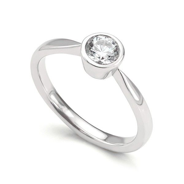 """Oriana"" BEZEL SET ROUND DIAMOND SOLITAIRE ENGAGEMENT RING Simple and perfectly finished, round diamond solitaire engagement ring with a classic tapered bezel setting and solid shoulders."