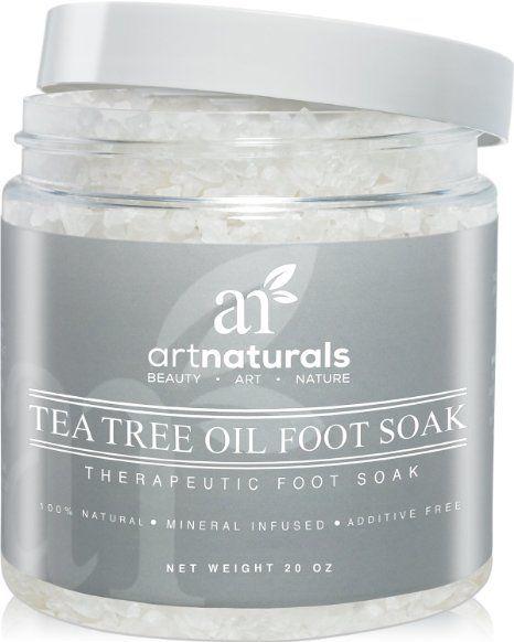 Art Naturals Teebaumöl Fußbad mit Bittersalz & Totes Meer Salz 591 ml, Hilft Fußpilz zu entfernen & Schmerzen zu lindern | Naturreine Inhaltsstoffe & Ätherische Öle für wohltuende Fußpflege