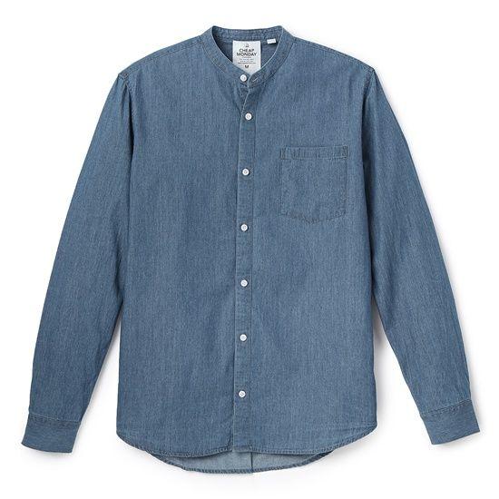 Рубашка серо-синяя из шамбре с карманом без воротника, Cheap Monday, где купить: East Dane