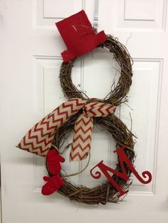 Snowman Wreath Made From Grapevine Wreaths