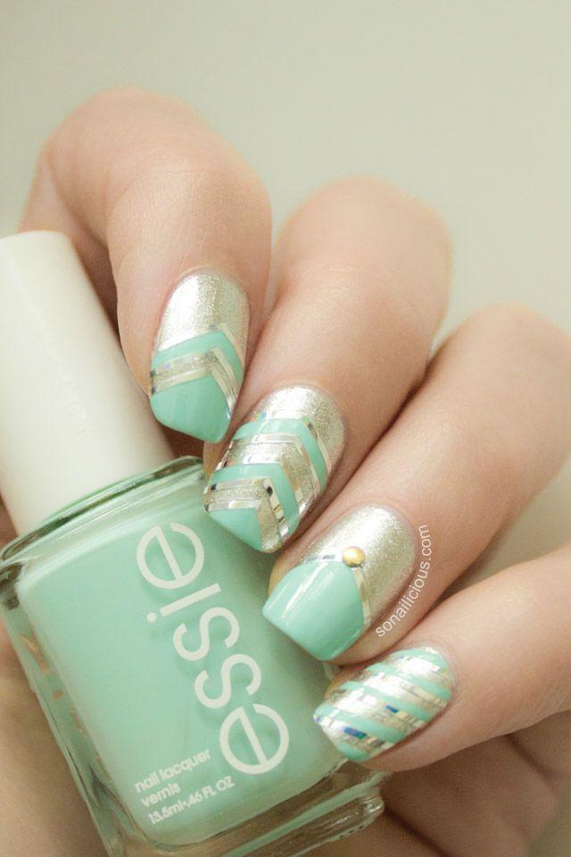 Mint Green & Gold Glitter Nails fashion nails nail polish glitter mint green nail art manicure nail design