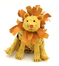 Lion Newspaper and Masking Tape Sculpture Craft for Kids