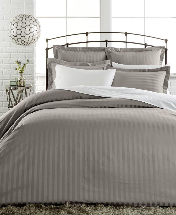 Closeout charter club damask stripe full queen duvet for Pima cotton comforter