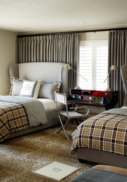 boy's rooms - gray linen wingback headboards beds plaid bedding pharmacy lamps  Gray sophisticated boy's room design with gray linen wingback