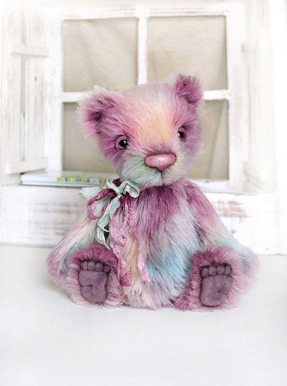 Artist bear handmade bear rainbow collectable bear by LunaticShop