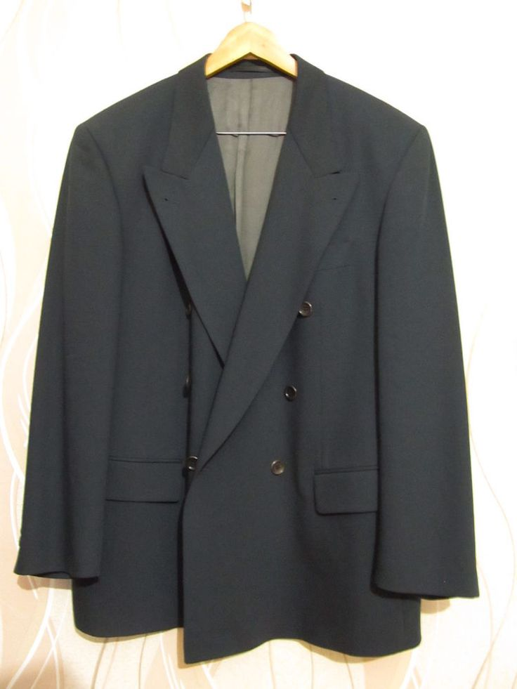 Hugo Boss Mens Vintage Double Breasted Pure Wool Dark Green Suit Jacket Size 4XL #HUGOBOSS #DoubleBreasted