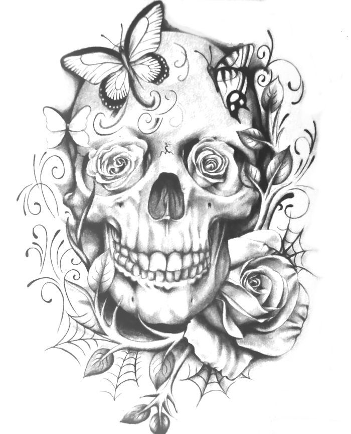 skull coloring page - Skull Coloring Pages For Adults
