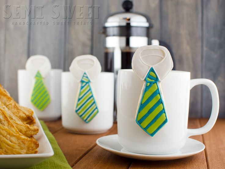 A decorated sugar cookie tutorial to make Father's Day hanging mug necktie cookies. Perfect for any dad's celebration.