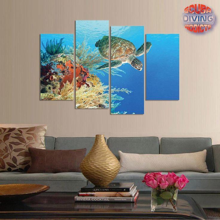 Turtle paradise 4 piece canvas